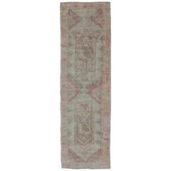 Long & Wide Runner with Medallion Design in Green, Purple, Gray, Orange & Nude