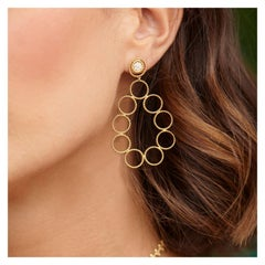 Long Wire Oval Pave Diamond Earrings