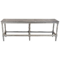 Long Wooden Table with Marble Top