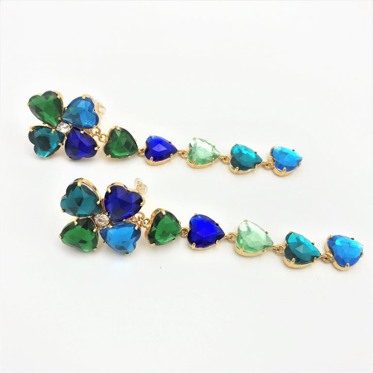 Long Yves St. Laurent heart ear clips rhinestones in many colors 2000s  For Sale 4