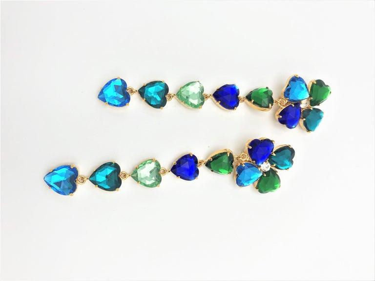 Women's Long Yves St. Laurent heart ear clips rhinestones in many colors 2000s  For Sale