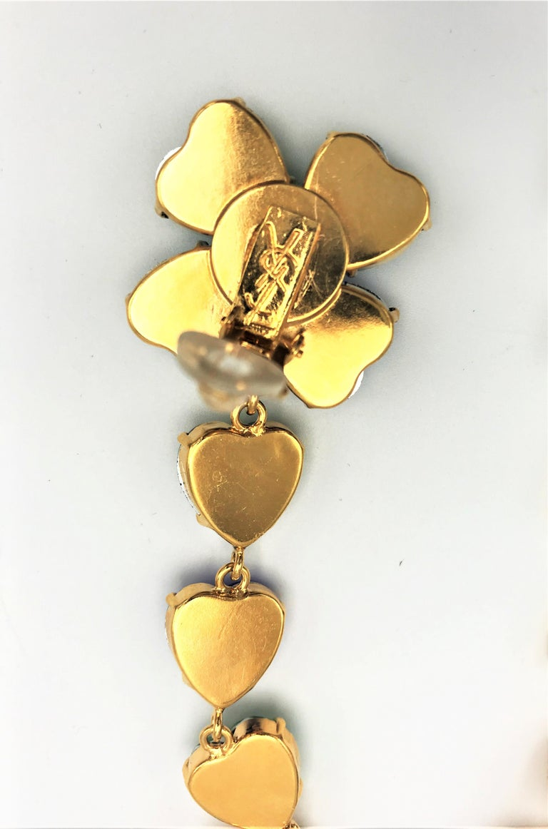 Long Yves St. Laurent heart ear clips rhinestones in many colors 2000s  For Sale 2