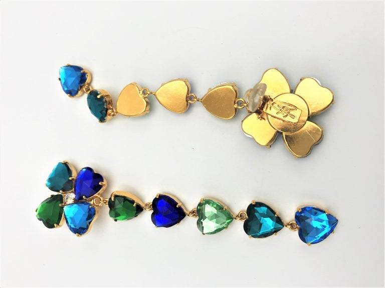Long Yves St. Laurent heart ear clips rhinestones in many colors 2000s  For Sale 3