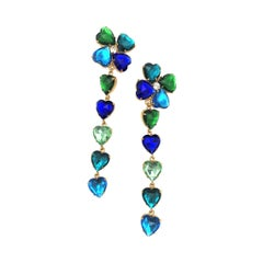 Long Yves St. Laurent heart ear clips rhinestones in many colors 2000s
