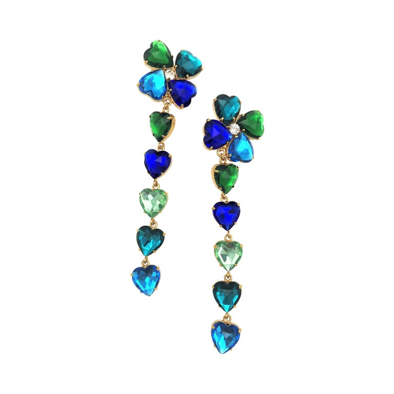 Long Yves St. Laurent heart ear clips rhinestones in many colors 2000s  For Sale