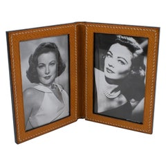 Longchamp 1940s Stitched Leather Double View Picture Frame