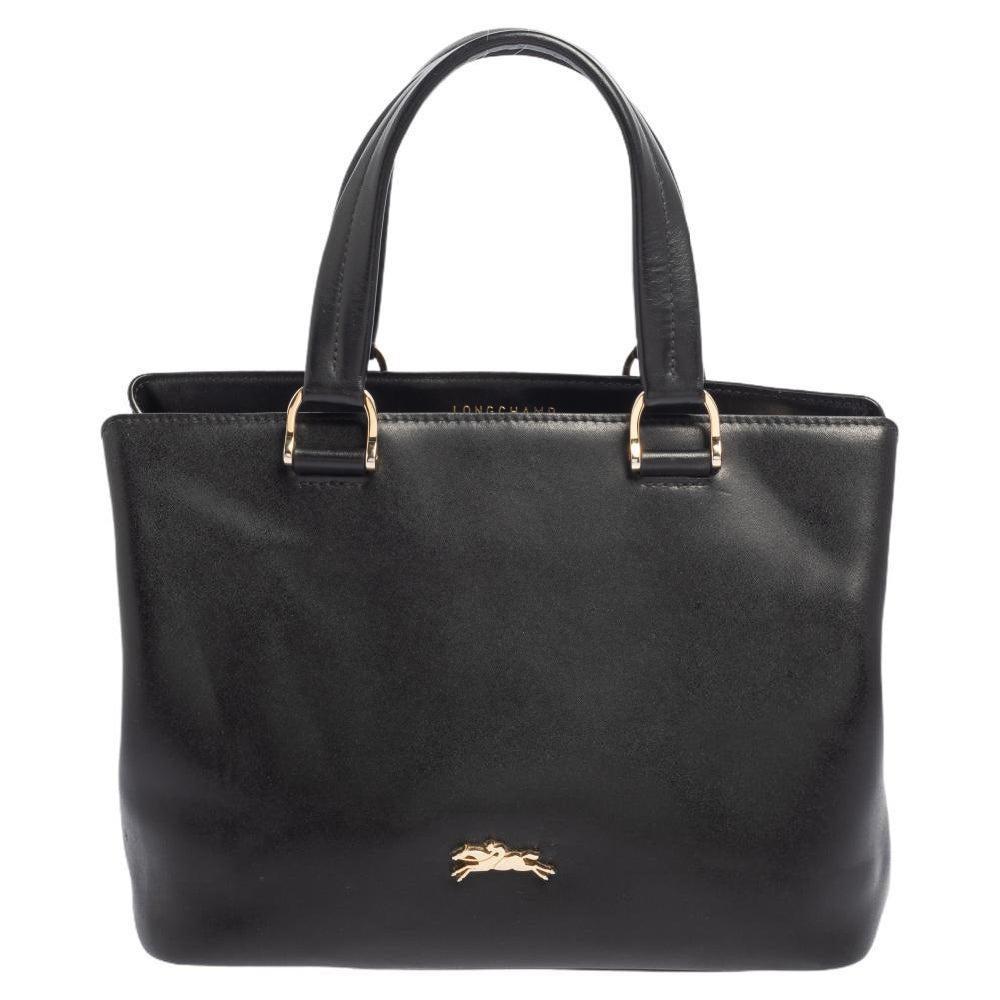 Longchamp Black Leather Buckle Handle Tote