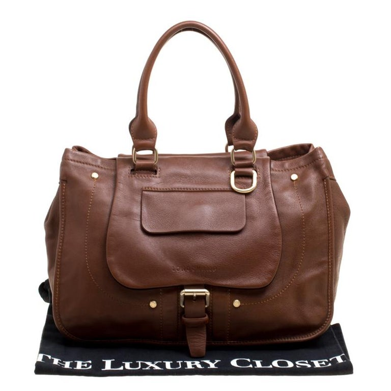 61c2228ec84 Longchamp Brown Leather Balzane Roots Top Handle Bag For Sale at 1stdibs