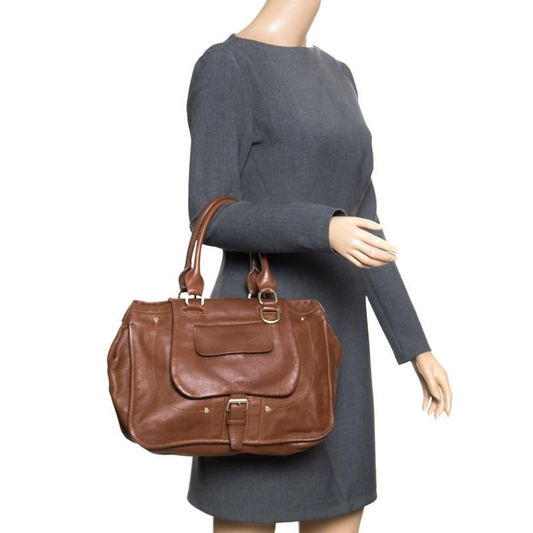 45ba2c4e34d Longchamp Brown Leather Balzane Roots Top Handle Bag In Good Condition For  Sale In Dubai,