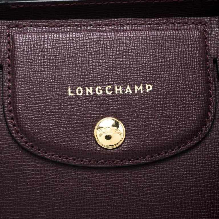 6bd96f8b5ce Women s Longchamp Burgundy Leather Small Le Pliage Heritage Tote For Sale