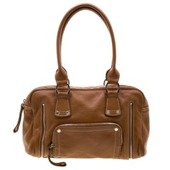 Longchamp Camel Leather Satchel
