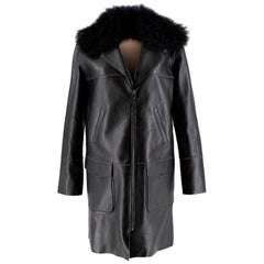 Longchamp Cashmere Lined Leather Coat with Calf Hair - Size US 8