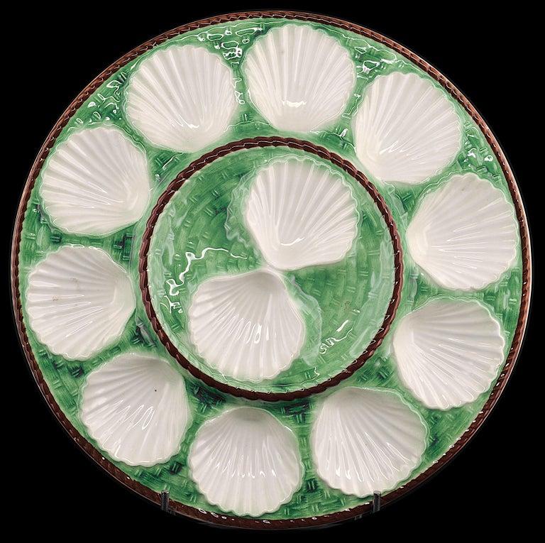 Art Deco Longchamp French Art Ceramic Majolica Oyster Set, 1930s For Sale