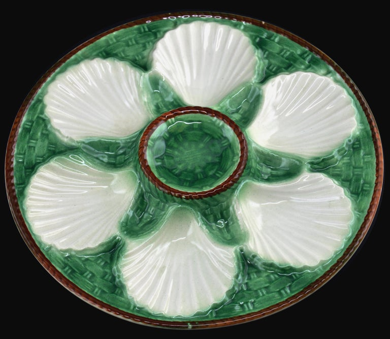 Longchamp French Art Ceramic Majolica Oyster Set, 1930s In Excellent Condition For Sale In Saint-Amans-des-Cots, FR