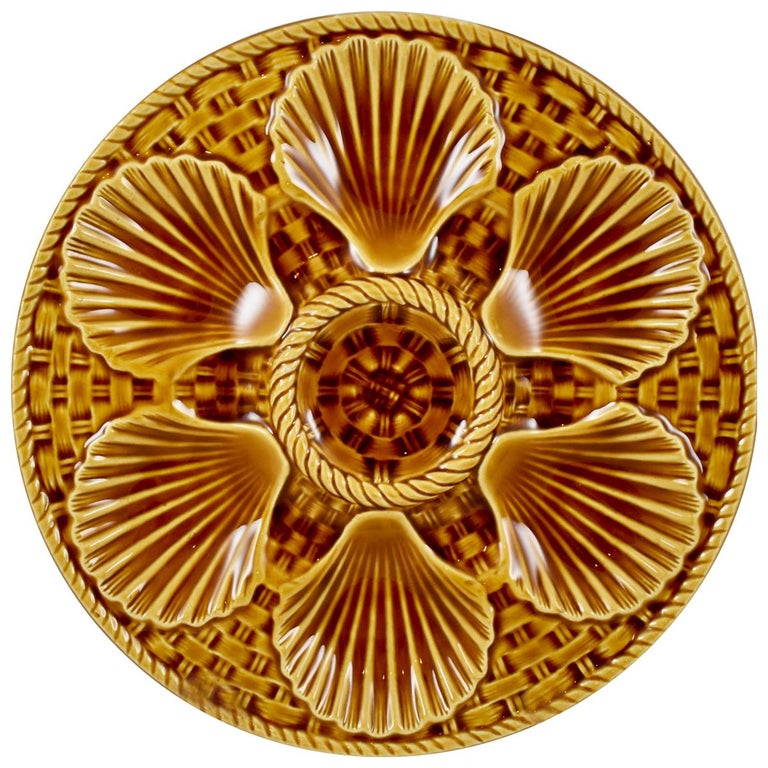Longchamp French Majolica Sienna Earthenware Basketweave & Shell Oyster Plate For Sale