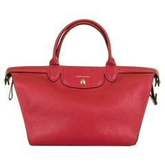 Longchamp of Paris Red Leather Large 'Sac cabas' Cross-body / Shoulder Bag - GHW