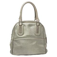 Longchamp Pale Green Shimmer Leather Zip Satchel