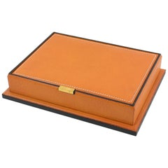 Longchamp 1940s Hand-Stitched Leather Box