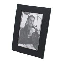 Longchamp Paris Hand-Stitched Black Leather Picture Frame