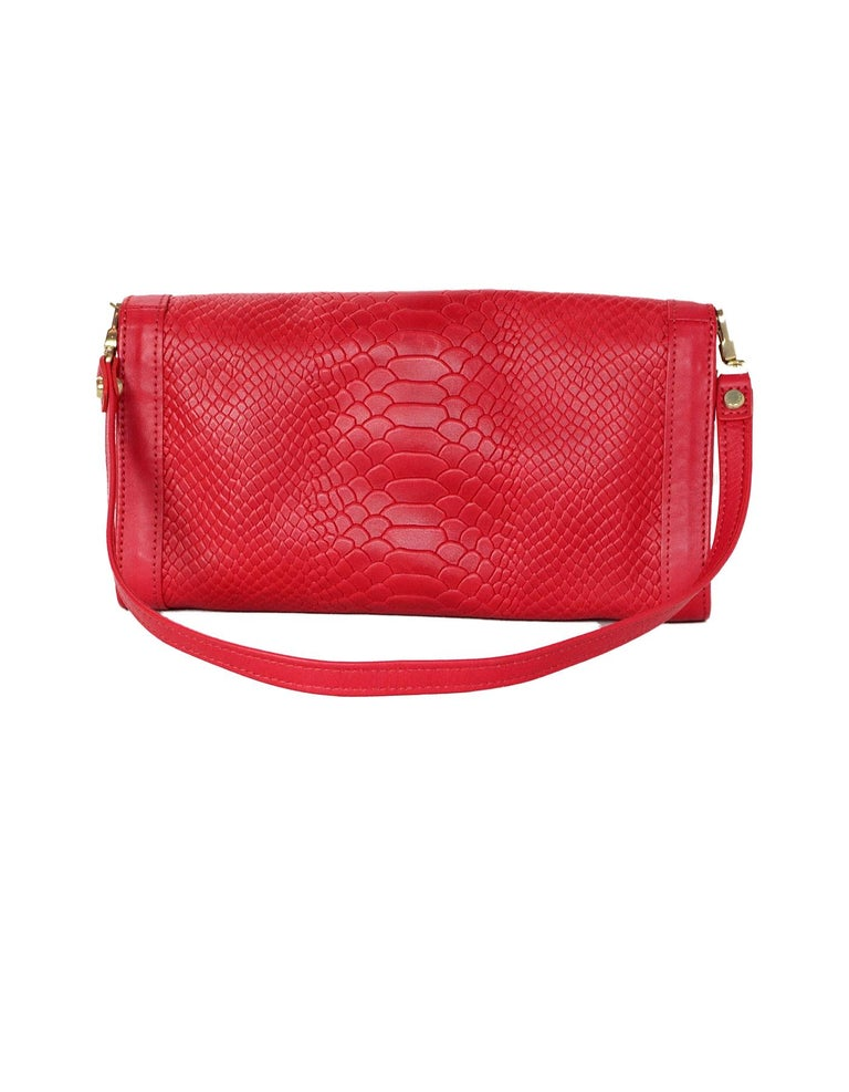 Longchamp Red Leather Embossed Snake Gatsby Flap Clutch/Shoulder Bag In Excellent Condition For Sale In New York, NY