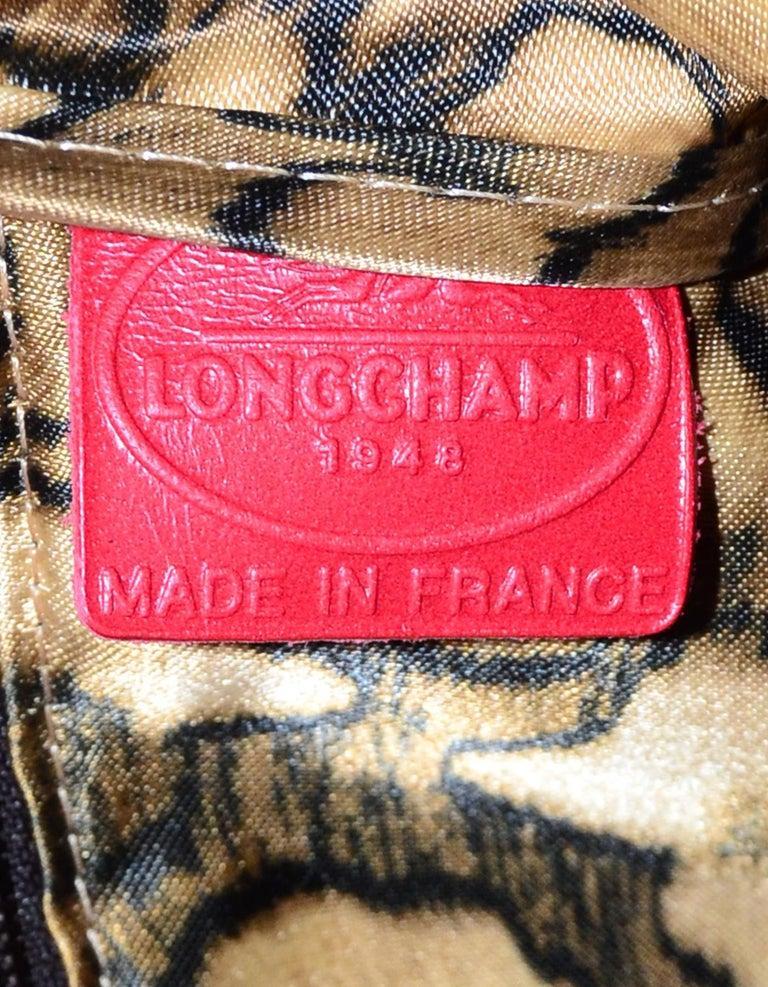 Longchamp Red Leather Embossed Snake Gatsby Flap Clutch/Shoulder Bag For Sale 3