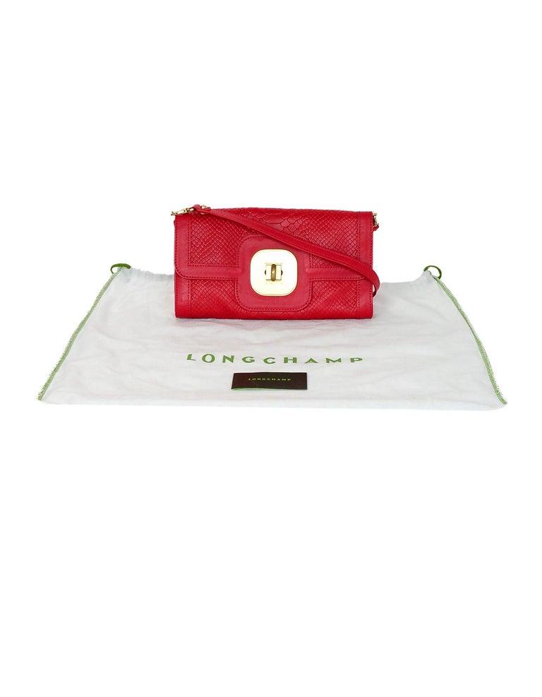 Longchamp Red Leather Embossed Snake Gatsby Flap Clutch/Shoulder Bag For Sale 5