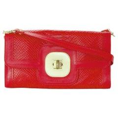 Longchamp Red Leather Embossed Snake Gatsby Flap Clutch/Shoulder Bag