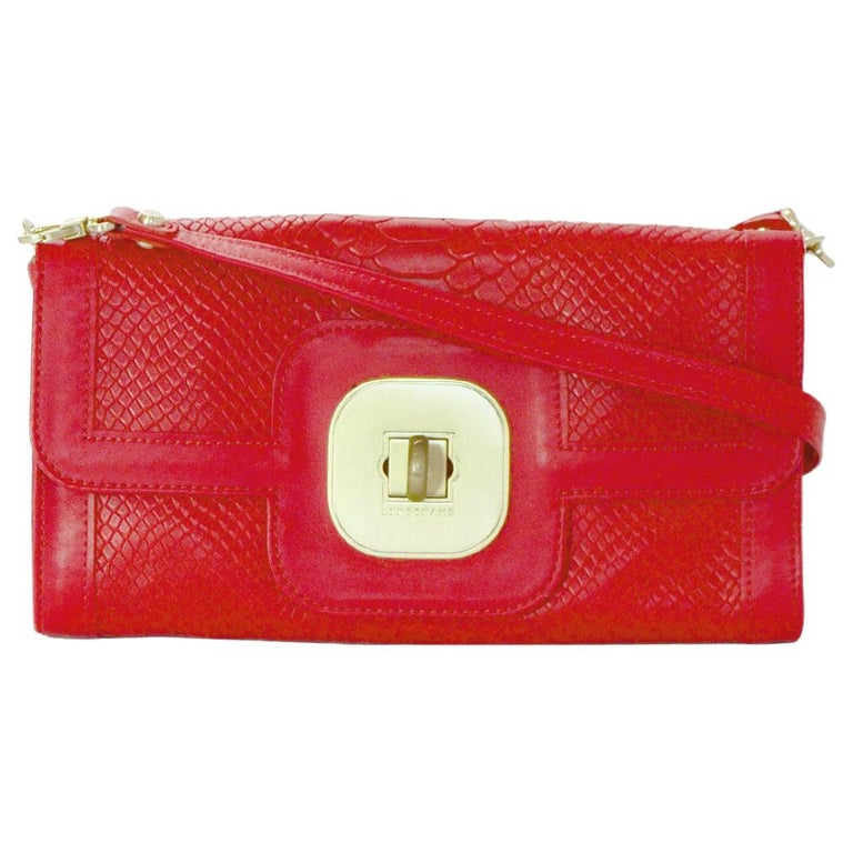 Longchamp Red Leather Embossed Snake Gatsby Flap Clutch/Shoulder Bag For Sale