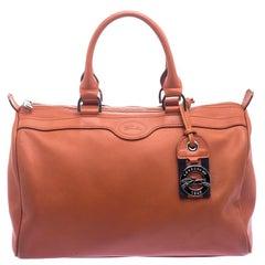 Longchamp Red Orange Leather Satchel