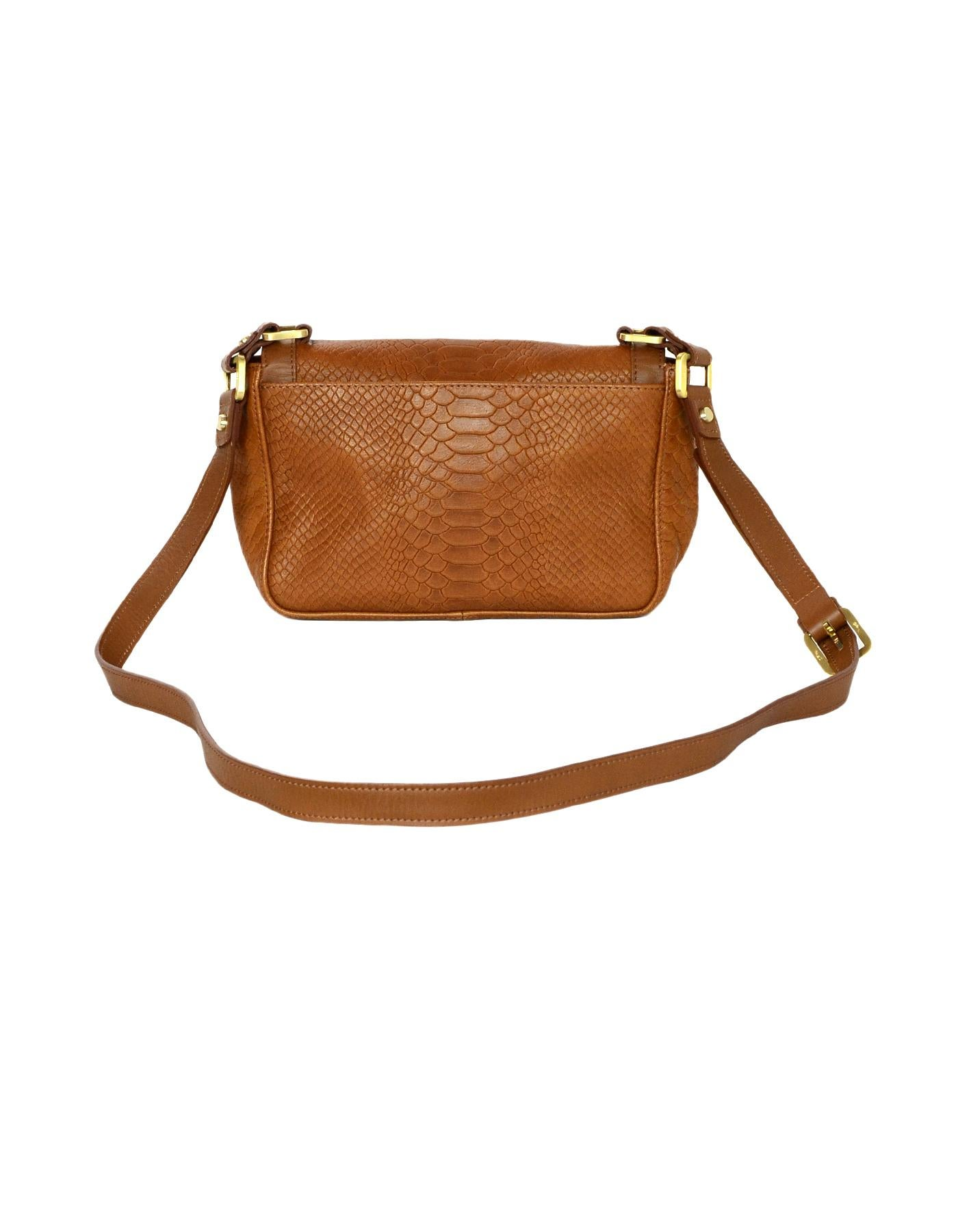 7cb38545d7 Longchamp Tan Leather Embossed Python Gatsby Flap Crossbody Bag For Sale at  1stdibs