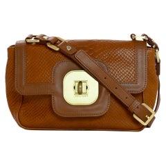 Longchamp Tan Leather Embossed Python Gatsby Flap Crossbody Bag