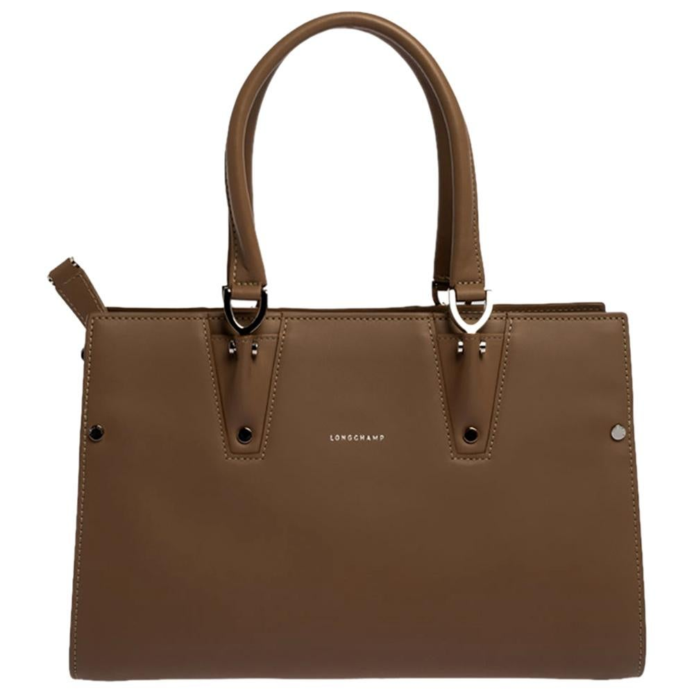 Longchamp Taupe Leather Small Paris Premiere Tote