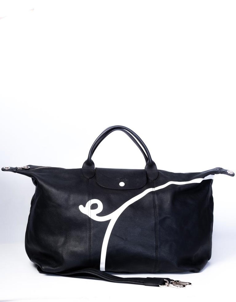 Black Longchamp X Mr. Bags Le Pliage Cuir Year of Pig Travel Bag For Sale