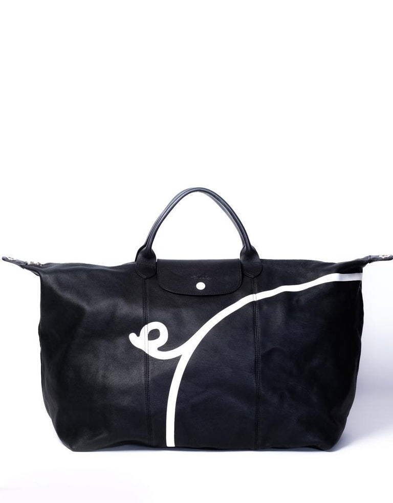 Women's or Men's Longchamp X Mr. Bags Le Pliage Cuir Year of Pig Travel Bag For Sale