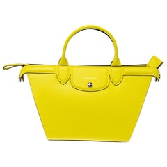 Longchamp Yellow Leather Le Pliage Heritage Tote