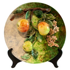 Longchamps French Majolica Barbotine Menton Wall Plaque with Apples, circa 1880