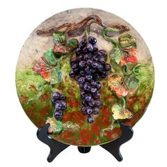 Longchamps French Majolica Barbotine Menton Wall Plaque with Grapes, circa 1880