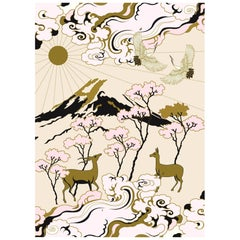 Longevity Pink & Gold Hand Tufted Wool and Viscose Rug by Wendy Morrison