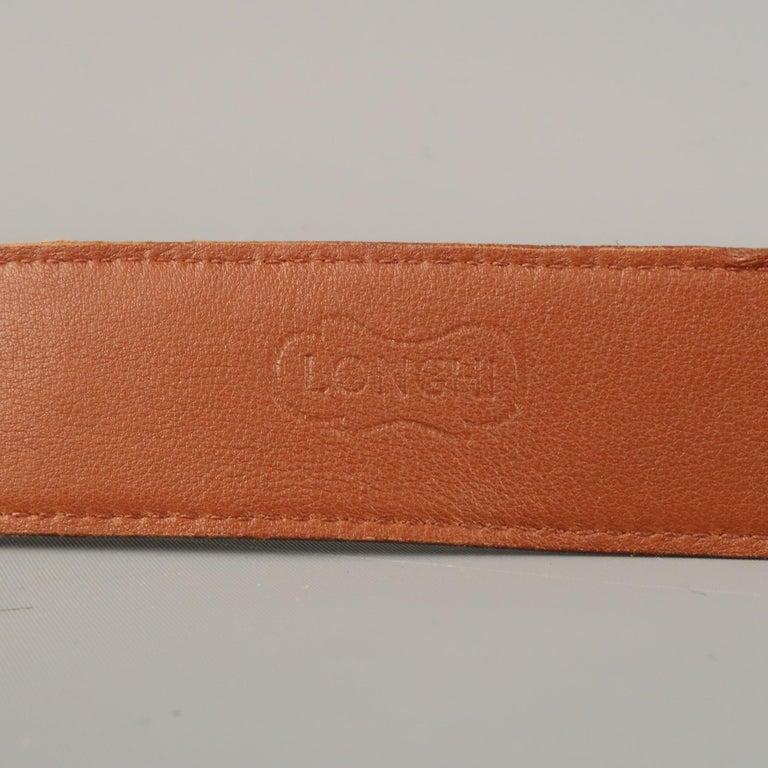LONGHI Size 34 Brown Belt For Sale 6
