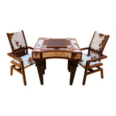 Longhorn Hide Game Table with Matching Chairs