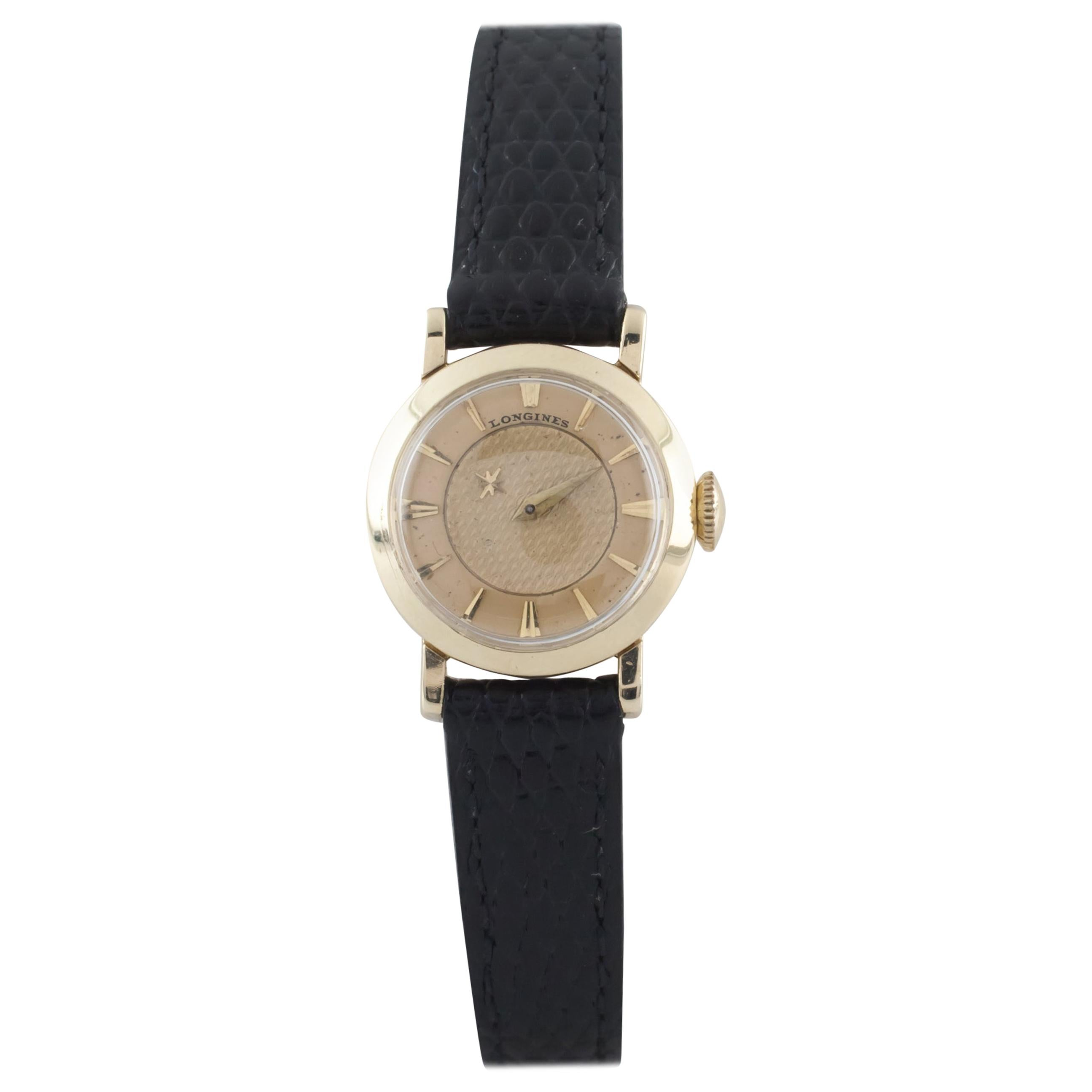 Longines 14 Karat Gold Women's Mystery Dial Hand-Winding Watch with Leather Band