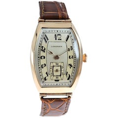 Longines 14 Karat Rose Gold Russian Style Tonneau Shaped Wristwatch ca Mid Teens