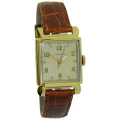 Longines 14 Karat Solid Yellow Gold One Owner Art Deco Watch with Original Box
