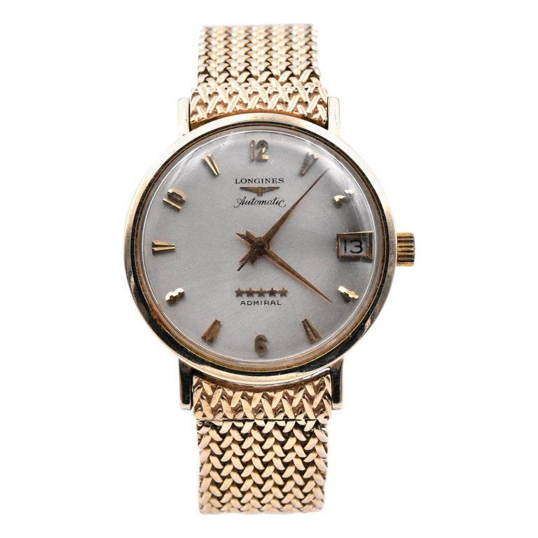 Longines 14 Karat Yellow Gold Admiral Wrench Wristwatch For Sale
