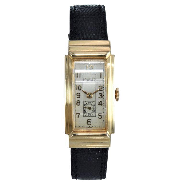Longines 14 Karat Yellow Gold Art Deco Tank Style Watch with Original Dial