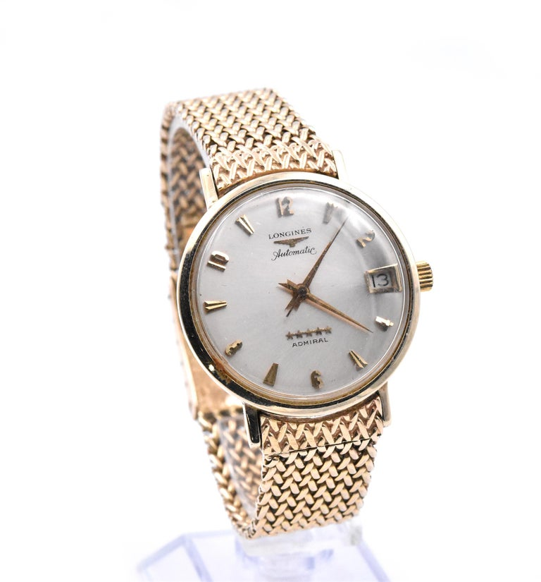 Women's or Men's Longines 14 Karat Yellow Gold Admiral Wrench Wristwatch For Sale