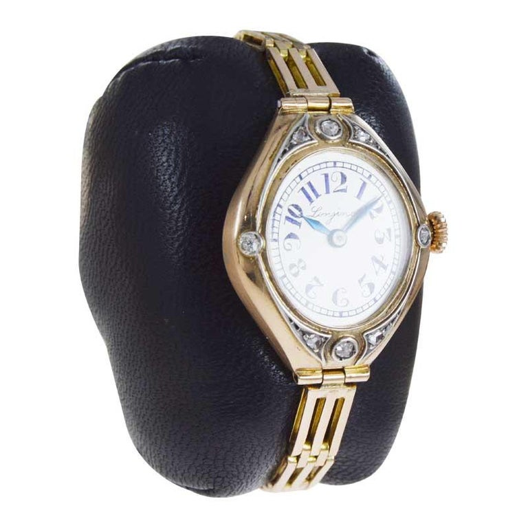 Women's or Men's Longines 14Kt Art Nouveau Watch Russian Style from 1914 with Original Dial For Sale