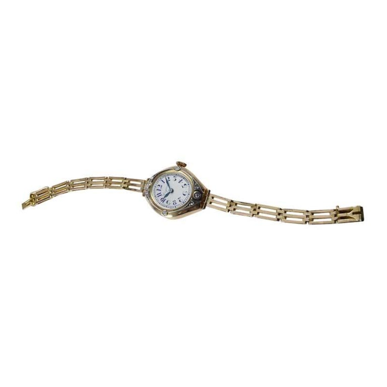 Longines 14Kt Art Nouveau Watch Russian Style from 1914 with Original Dial For Sale 5
