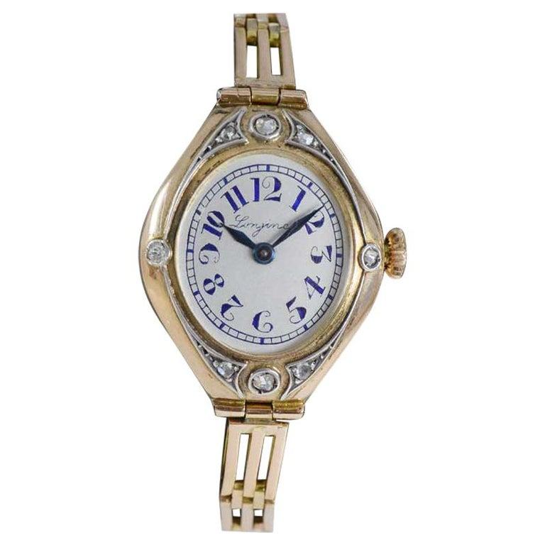 Longines 14Kt Art Nouveau Watch Russian Style from 1914 with Original Dial For Sale