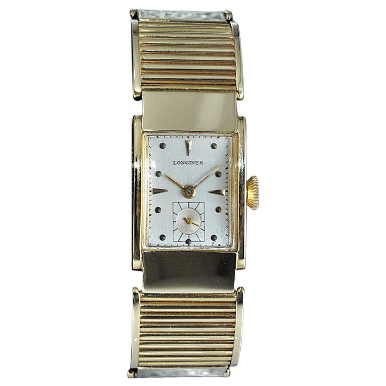 Longines 14Kt. Yellow Gold Art Deco Rare Hand Constructed Bracelet Watch, 1940s